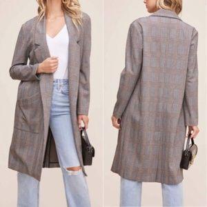 Astr The Label Black Brown Plaid Oversized Coat